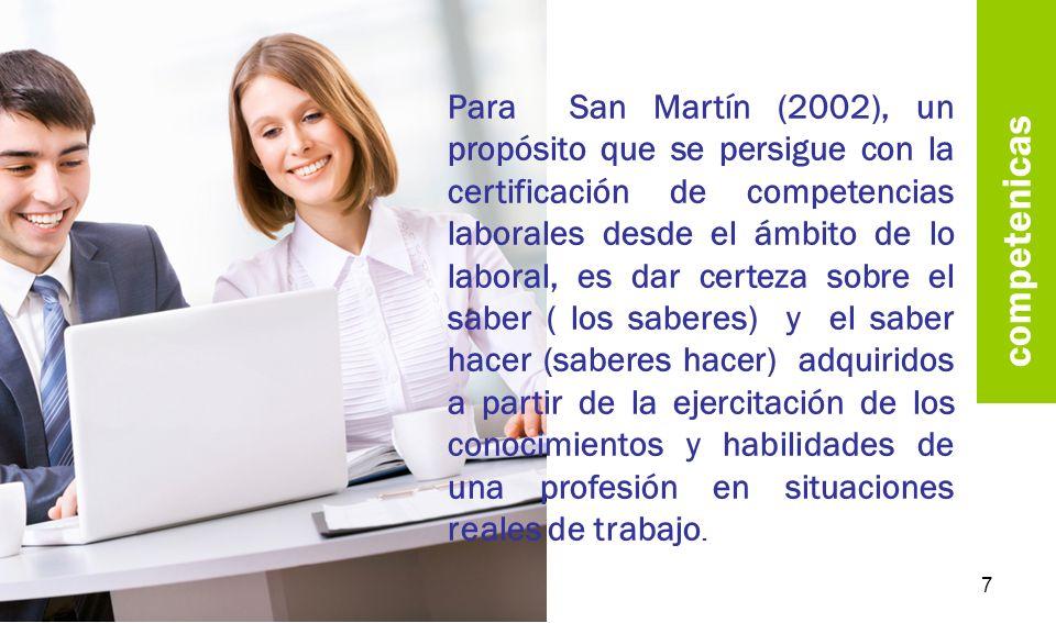 Para San Martín (2002), un propósito que se persigue con la certificación de competencias laborales desde el ámbito de lo laboral, es dar certeza sobre el saber ( los saberes) y el saber hacer (saberes hacer) adquiridos a partir de la ejercitación de los conocimientos y habilidades de una profesión en situaciones reales de trabajo.