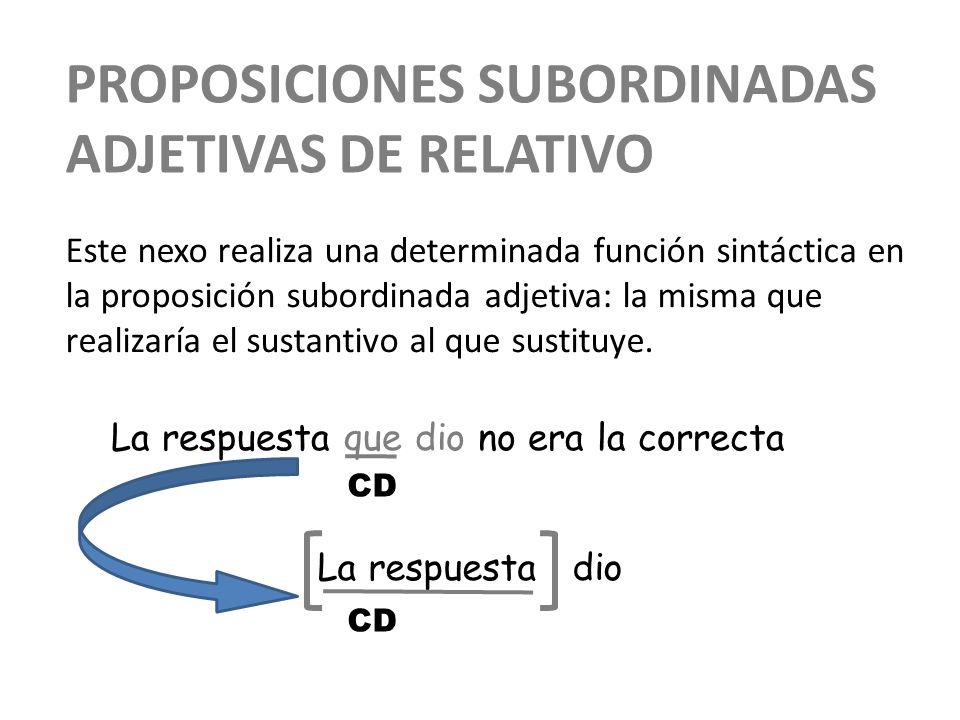 Proposiciones subordinadas adjetivas de relativo