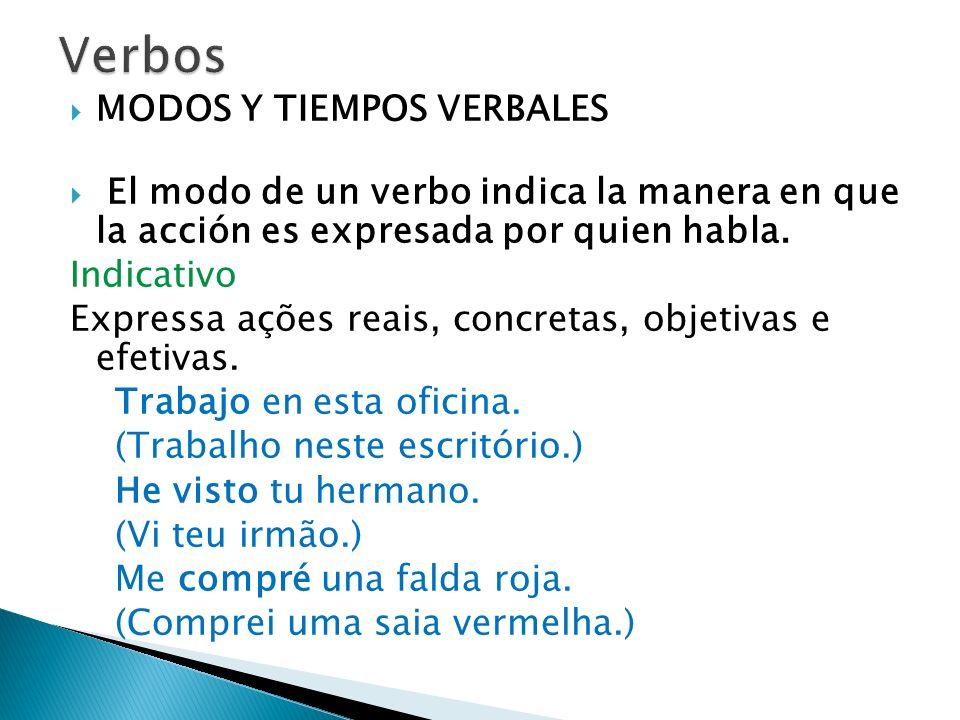 Verbos MODOS Y TIEMPOS VERBALES