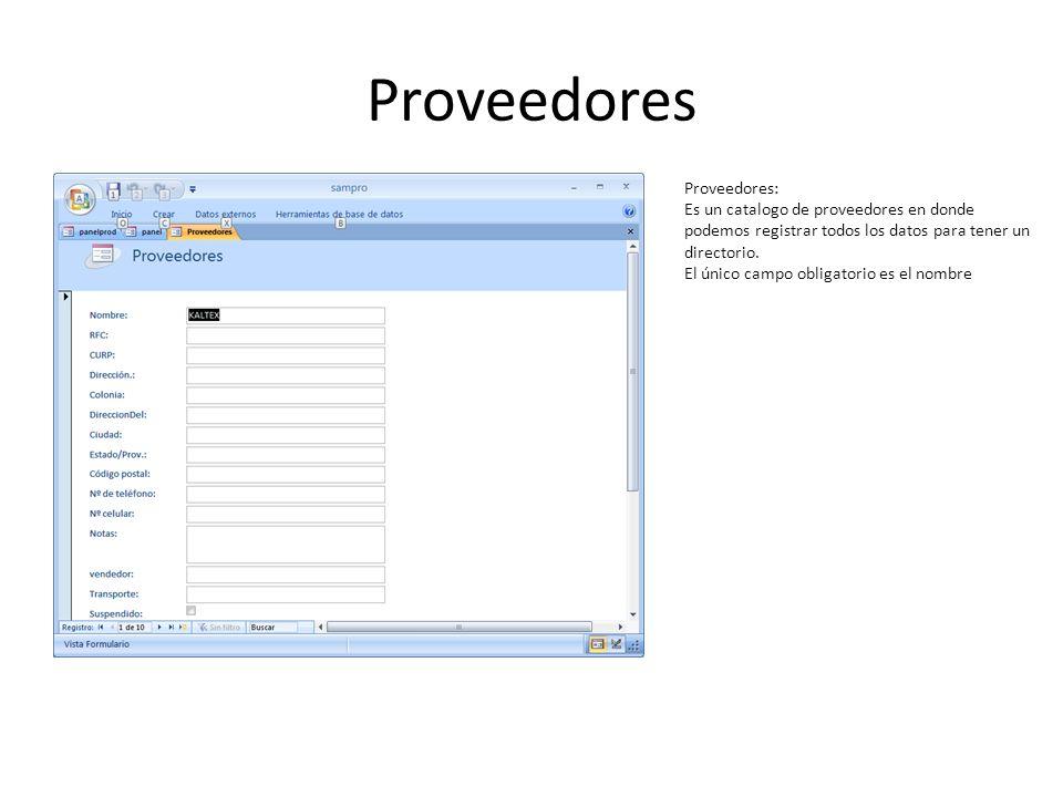 Proveedores Proveedores: