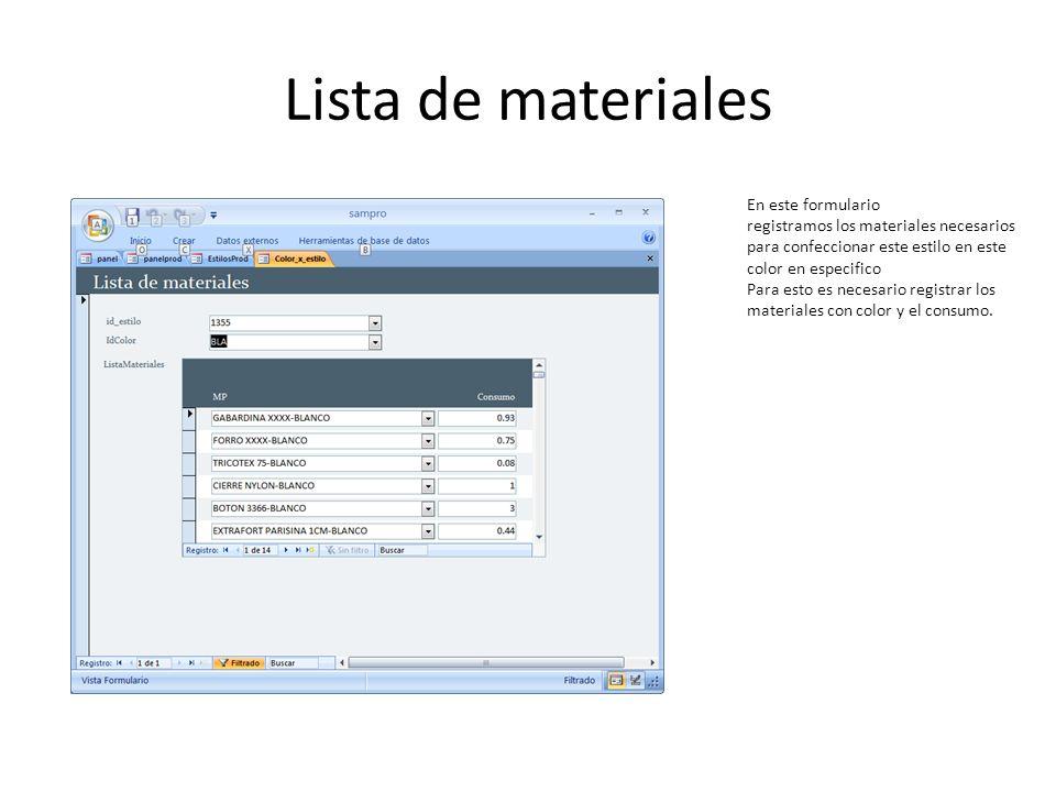 Lista de materiales En este formulario