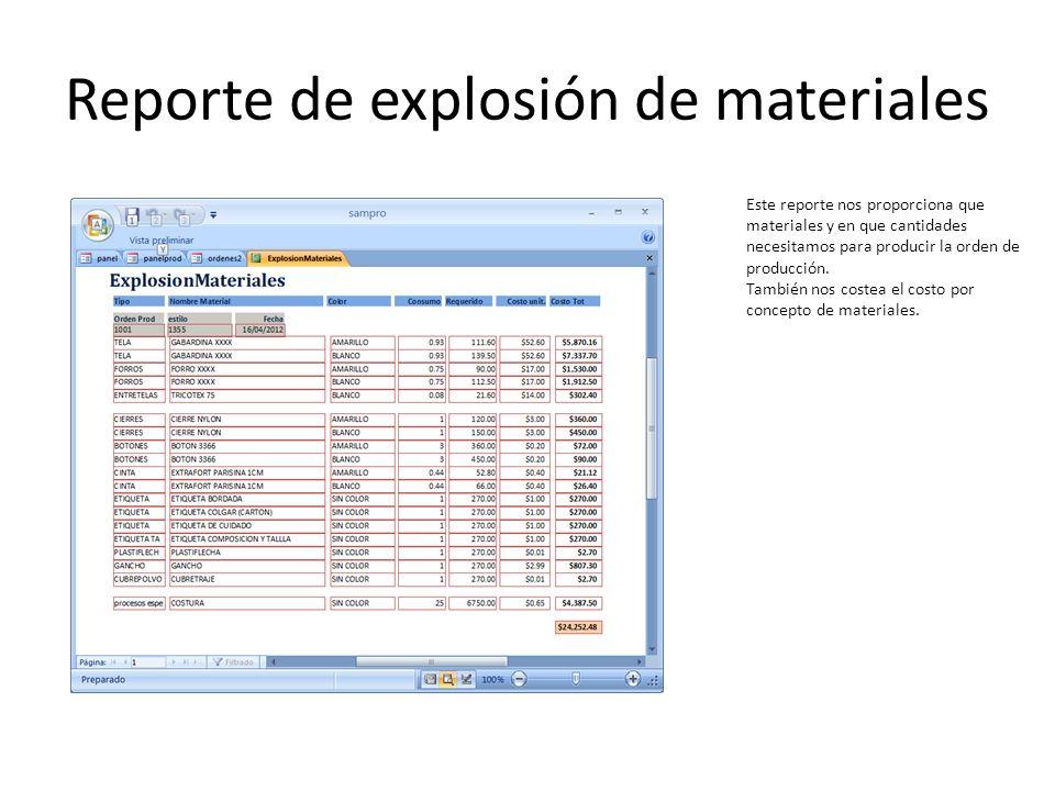 Reporte de explosión de materiales