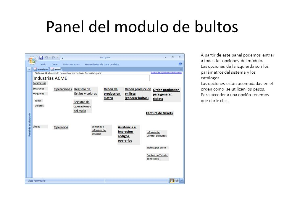 Panel del modulo de bultos
