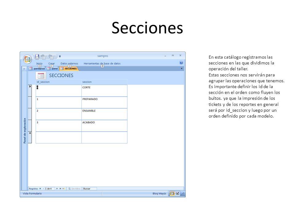 Secciones En esta catálogo registramos las secciones en las que dividimos la operación del taller.