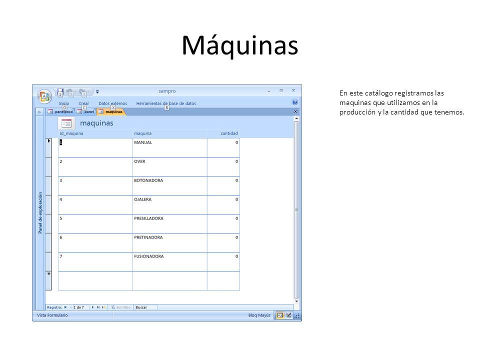 Máquinas En este catálogo registramos las maquinas que utilizamos en la producción y la cantidad que tenemos.
