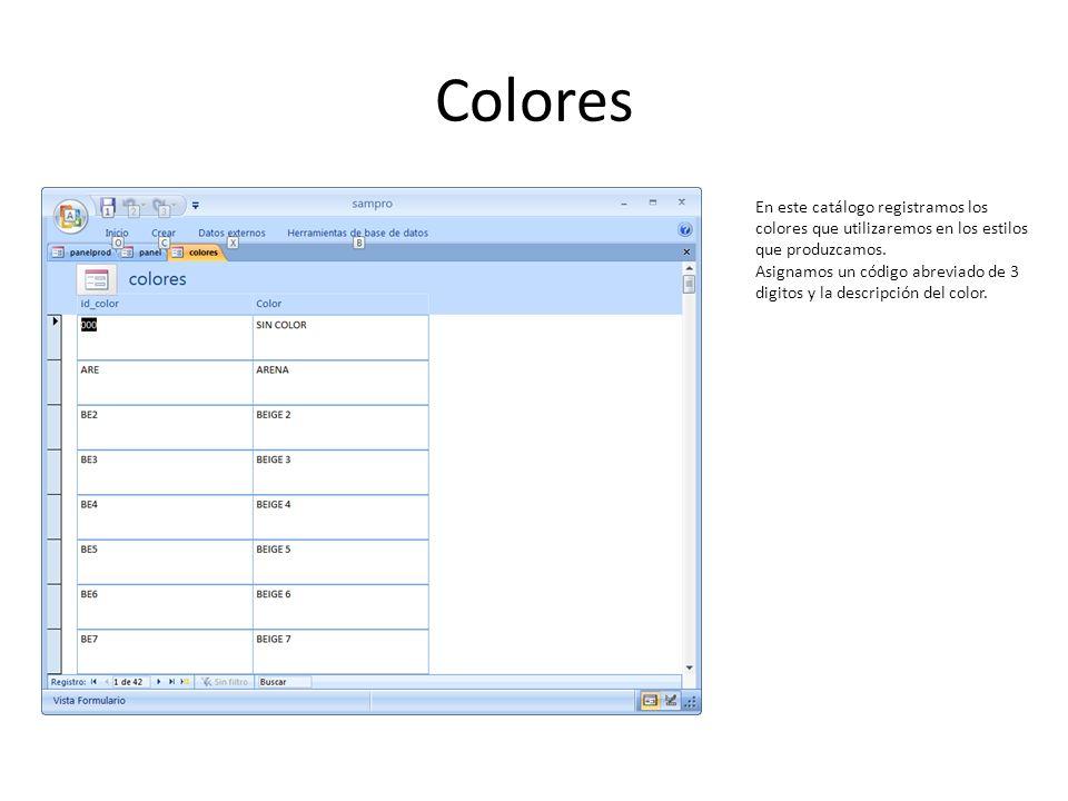 Colores En este catálogo registramos los colores que utilizaremos en los estilos que produzcamos.