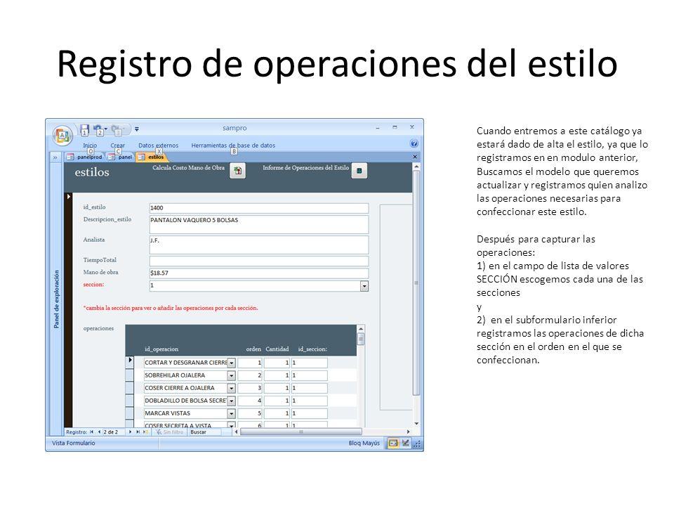 Registro de operaciones del estilo