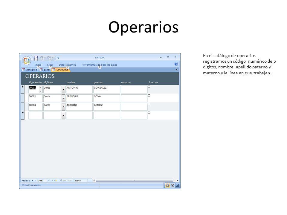 Operarios En el catálogo de operarios registramos un código numérico de 5 dígitos, nombre, apellido paterno y materno y la línea en que trabajan.