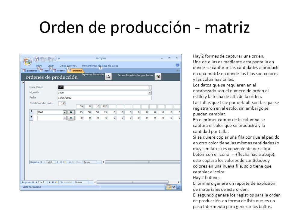 Orden de producción - matriz