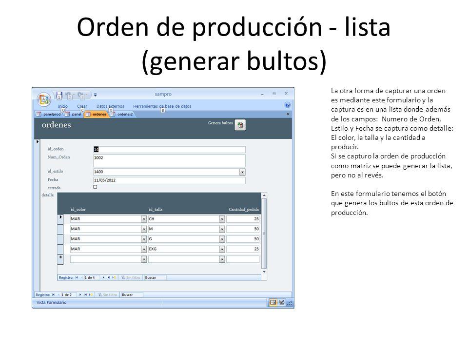 Orden de producción - lista (generar bultos)