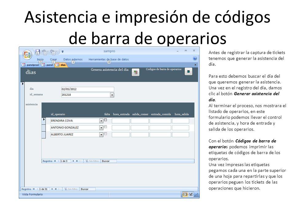 Asistencia e impresión de códigos de barra de operarios