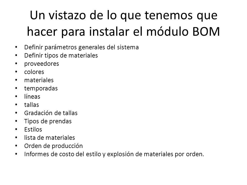 Un vistazo de lo que tenemos que hacer para instalar el módulo BOM