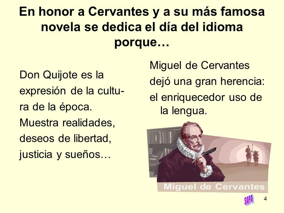 En honor a Cervantes y a su más famosa novela se dedica el día del idioma porque…