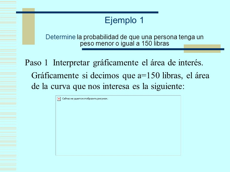 Ejemplo 1 Determine la probabilidad de que una persona tenga un peso menor o igual a 150 libras