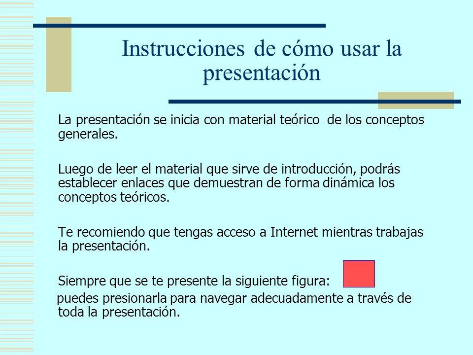Instrucciones de cómo usar la presentación