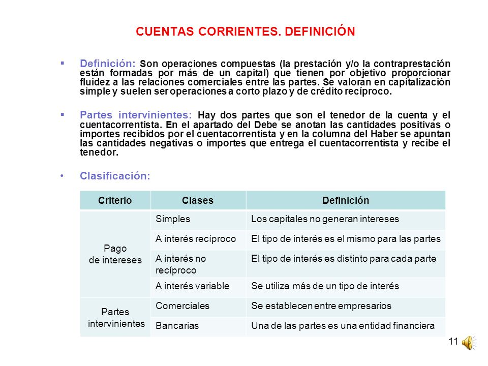 CUENTAS CORRIENTES. DEFINICIÓN