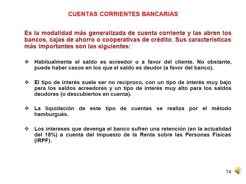 CUENTAS CORRIENTES BANCARIAS