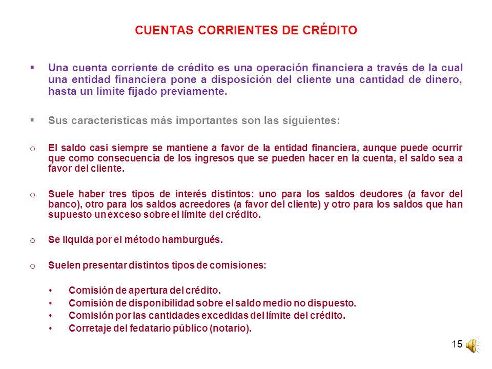 CUENTAS CORRIENTES DE CRÉDITO