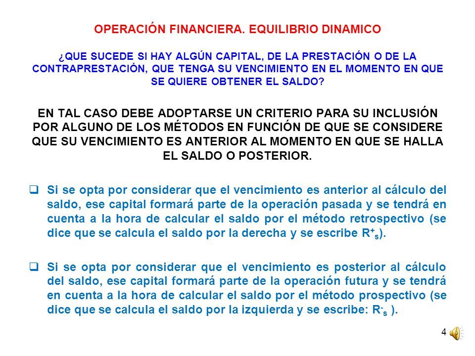 OPERACIÓN FINANCIERA. EQUILIBRIO DINAMICO