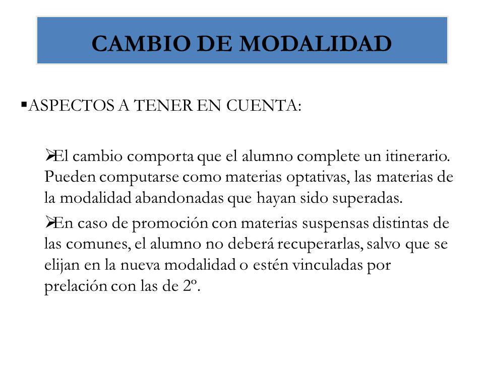 CAMBIO DE MODALIDAD ASPECTOS A TENER EN CUENTA: