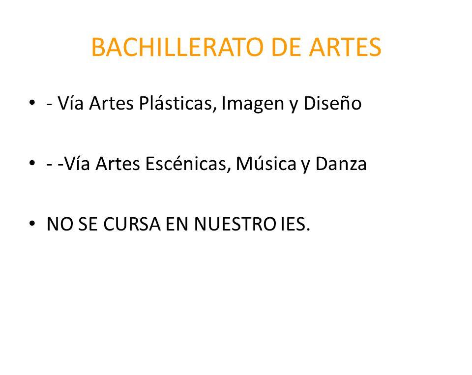 BACHILLERATO DE ARTES - Vía Artes Plásticas, Imagen y Diseño
