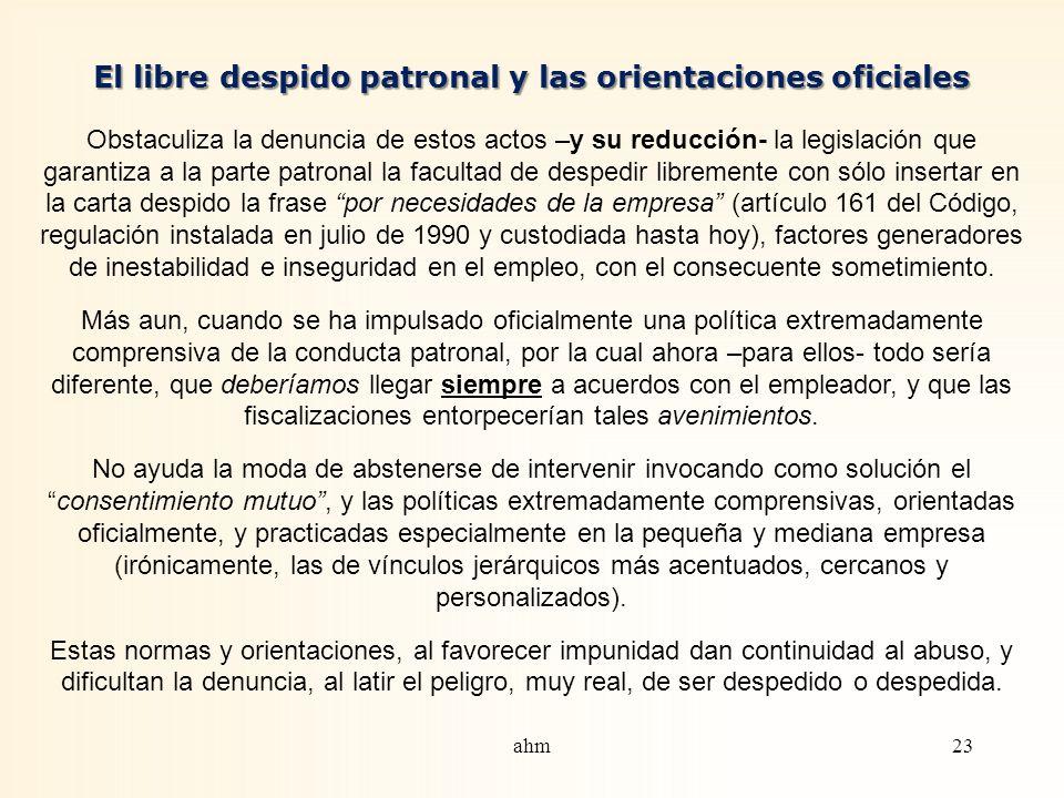 El libre despido patronal y las orientaciones oficiales