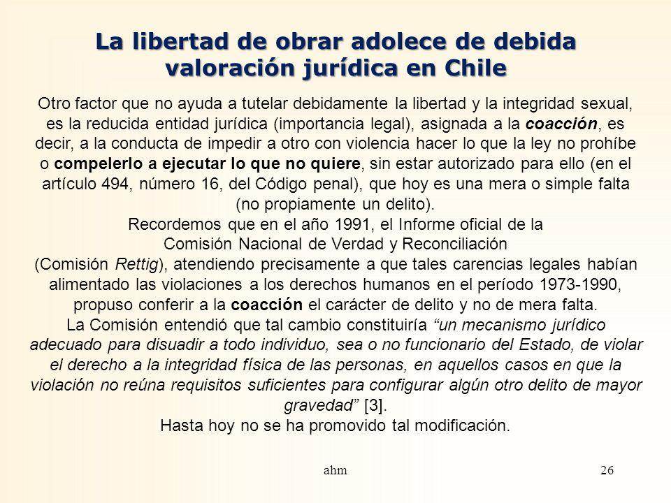 La libertad de obrar adolece de debida valoración jurídica en Chile
