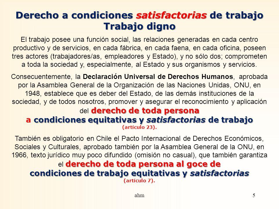 Derecho a condiciones satisfactorias de trabajo Trabajo digno