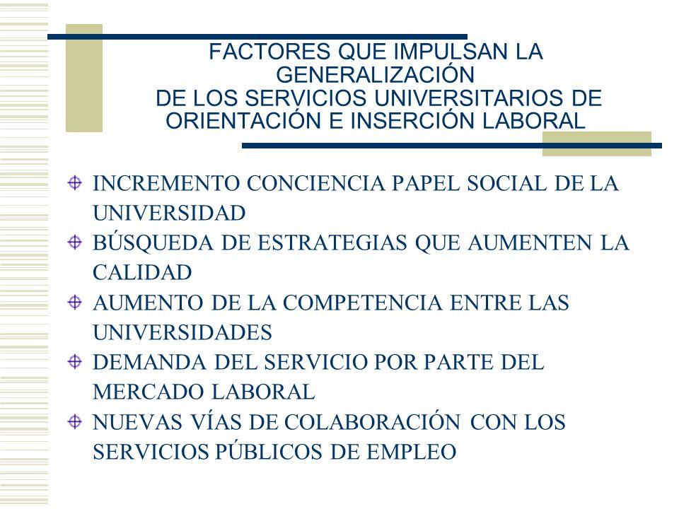 FACTORES QUE IMPULSAN LA GENERALIZACIÓN DE LOS SERVICIOS UNIVERSITARIOS DE ORIENTACIÓN E INSERCIÓN LABORAL