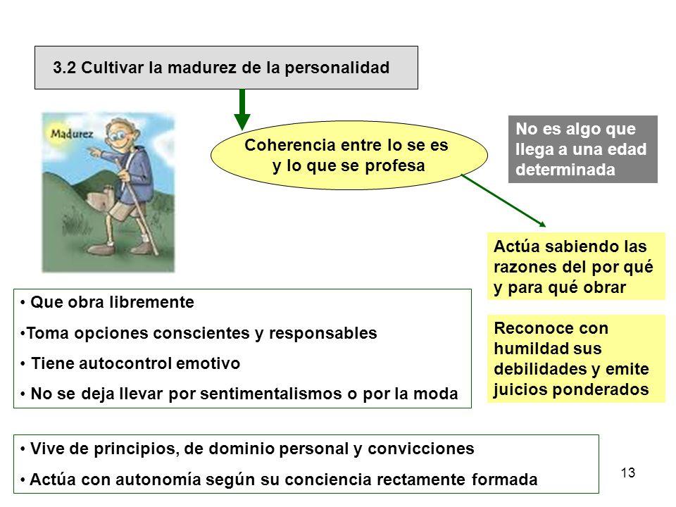 3.2 Cultivar la madurez de la personalidad Coherencia entre lo se es