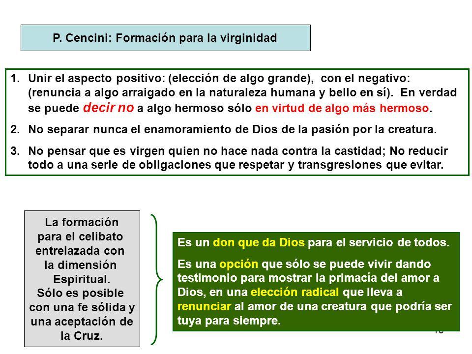 P. Cencini: Formación para la virginidad