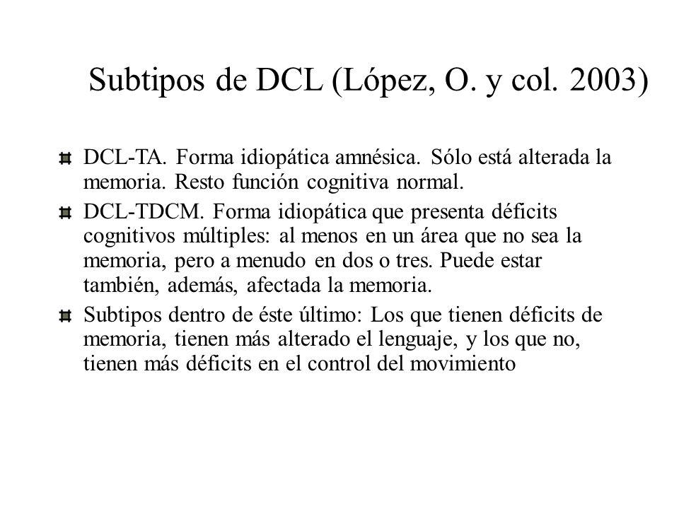 Subtipos de DCL (López, O. y col. 2003)