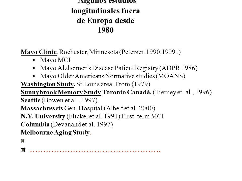 Algunos estudios longitudinales fuera de Europa desde 1980