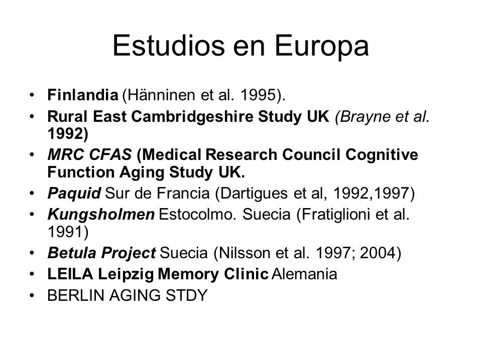 Estudios en Europa Finlandia (Hänninen et al. 1995).