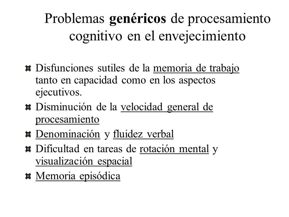 Problemas genéricos de procesamiento cognitivo en el envejecimiento