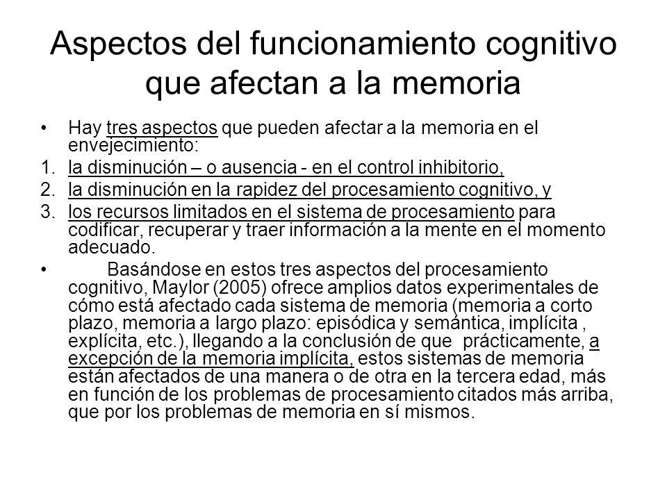 Aspectos del funcionamiento cognitivo que afectan a la memoria