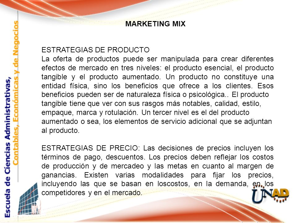 MARKETING MIX ESTRATEGIAS DE PRODUCTO.