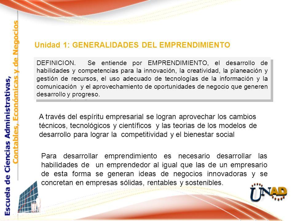 Unidad 1: GENERALIDADES DEL EMPRENDIMIENTO