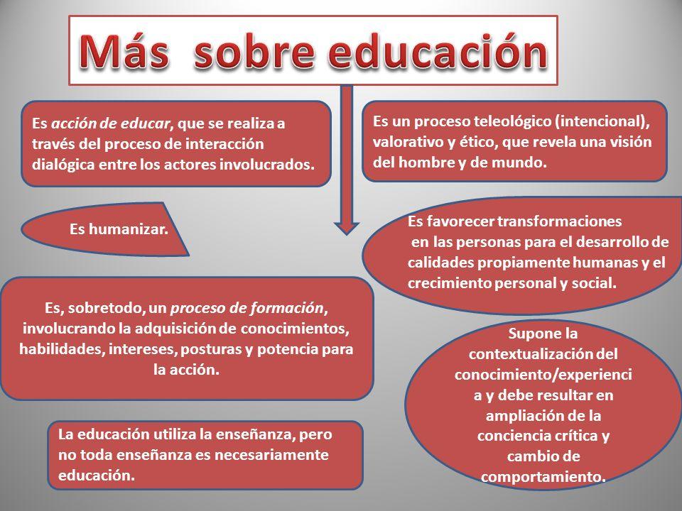 Más sobre educación Es acción de educar, que se realiza a través del proceso de interacción dialógica entre los actores involucrados.