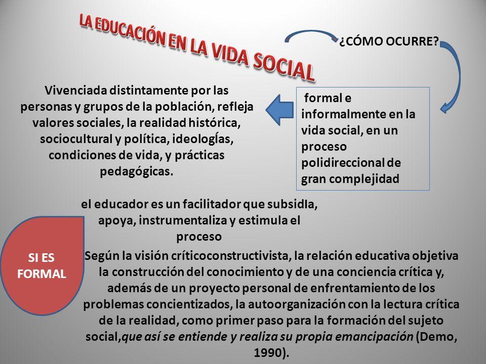 LA EDUCACIÓN EN LA VIDA SOCIAL