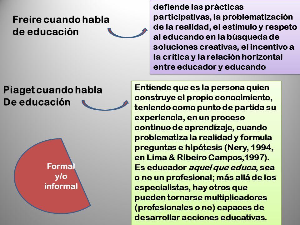Freire cuando habla de educación Piaget cuando habla De educación