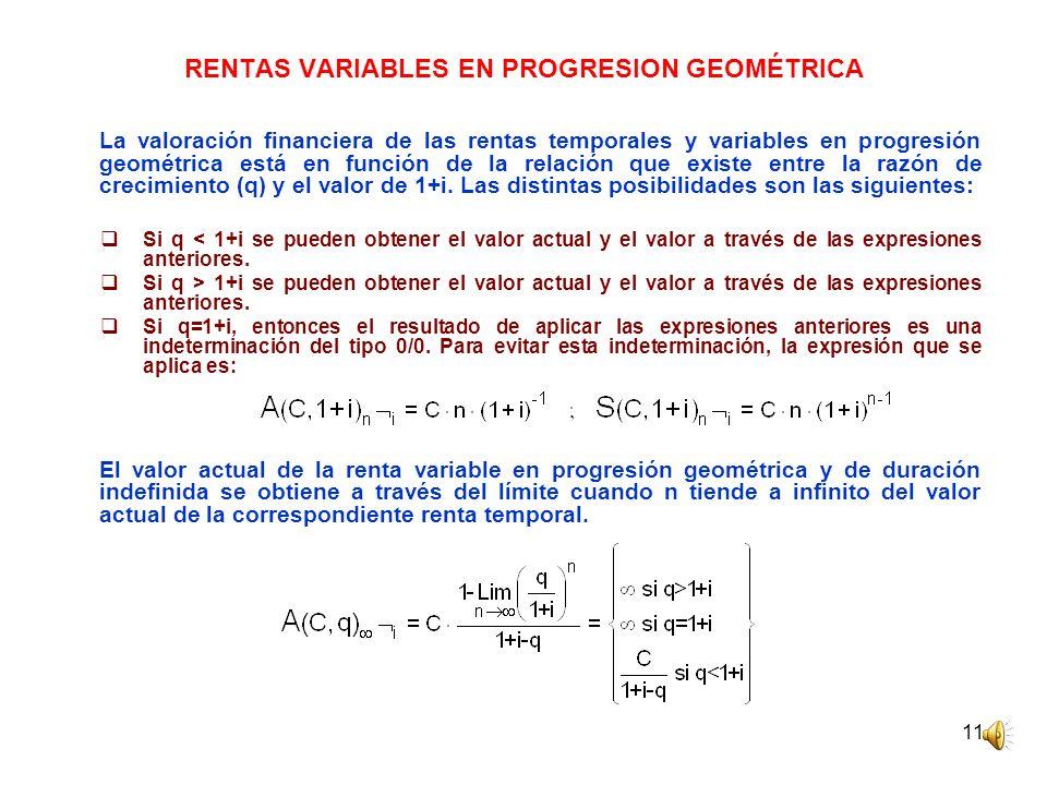 RENTAS VARIABLES EN PROGRESION GEOMÉTRICA