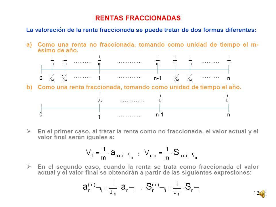 RENTAS FRACCIONADAS La valoración de la renta fraccionada se puede tratar de dos formas diferentes: