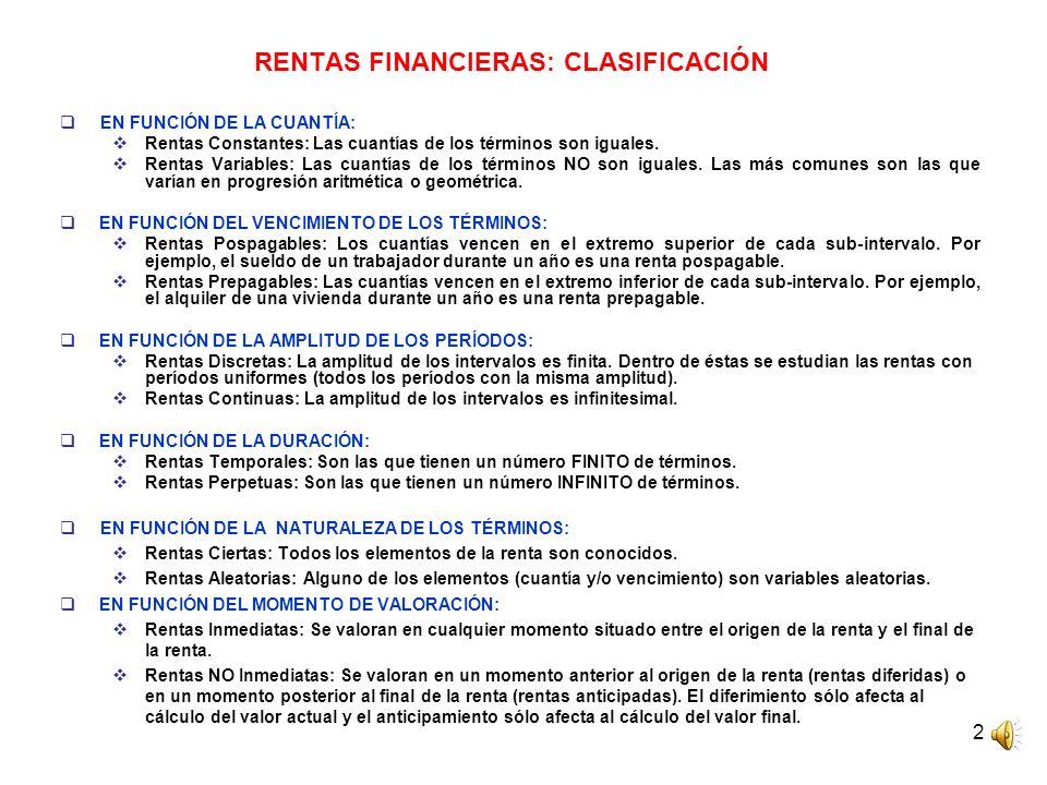 RENTAS FINANCIERAS: CLASIFICACIÓN