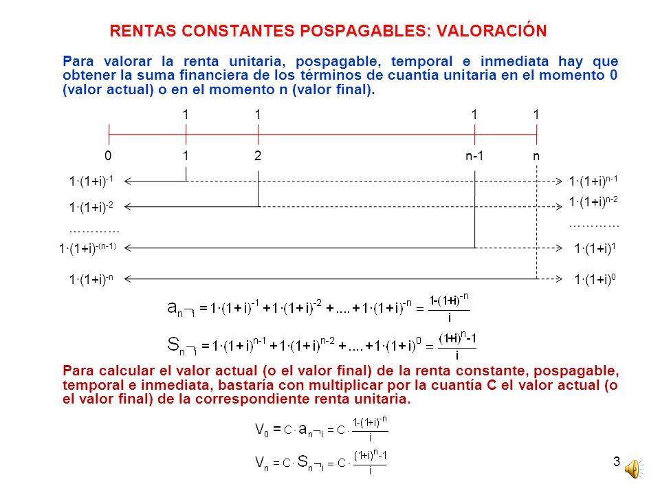 RENTAS CONSTANTES POSPAGABLES: VALORACIÓN
