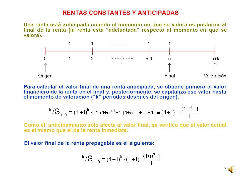 RENTAS CONSTANTES Y ANTICIPADAS