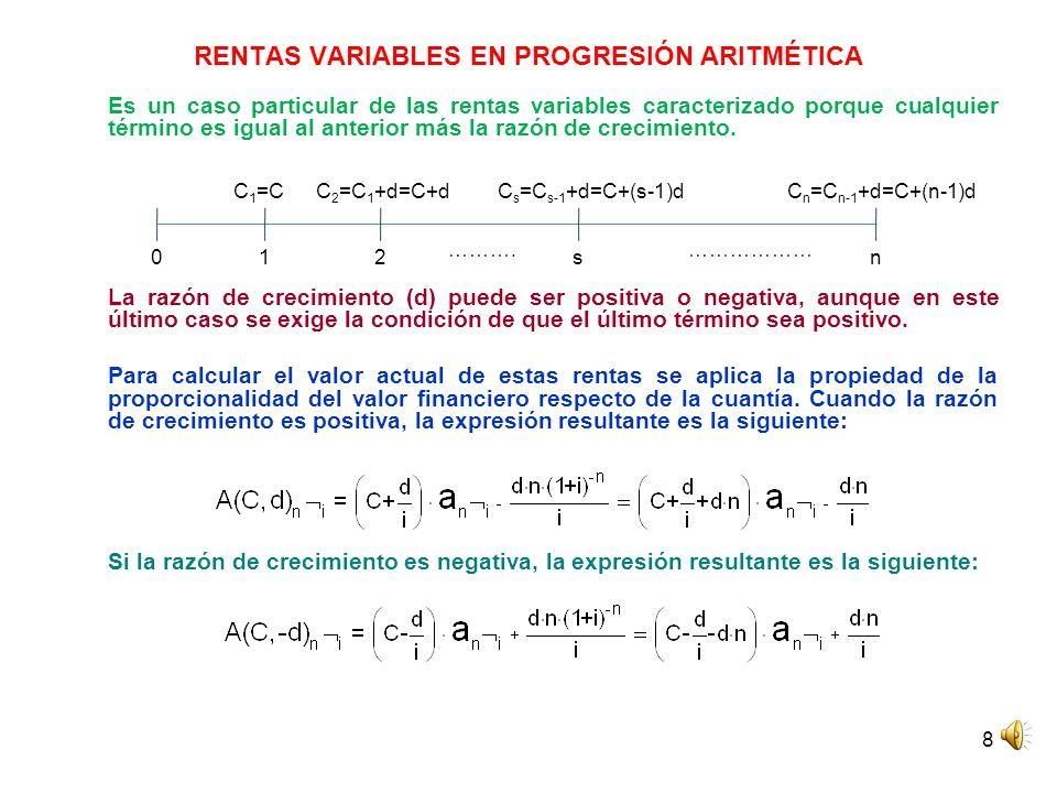 RENTAS VARIABLES EN PROGRESIÓN ARITMÉTICA