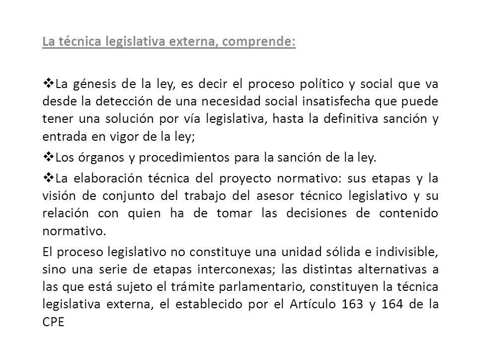 La técnica legislativa externa, comprende: