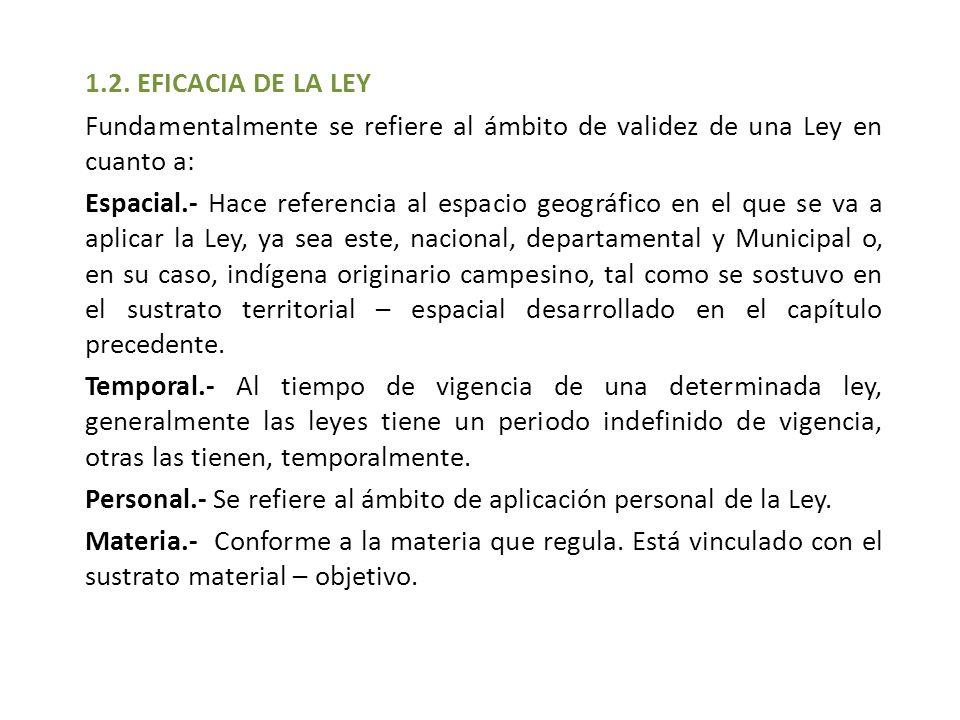 1.2. EFICACIA DE LA LEY Fundamentalmente se refiere al ámbito de validez de una Ley en cuanto a: