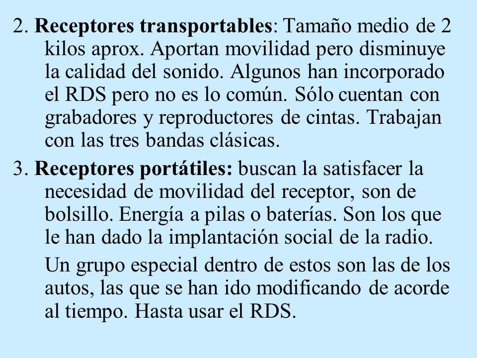 2. Receptores transportables: Tamaño medio de 2 kilos aprox